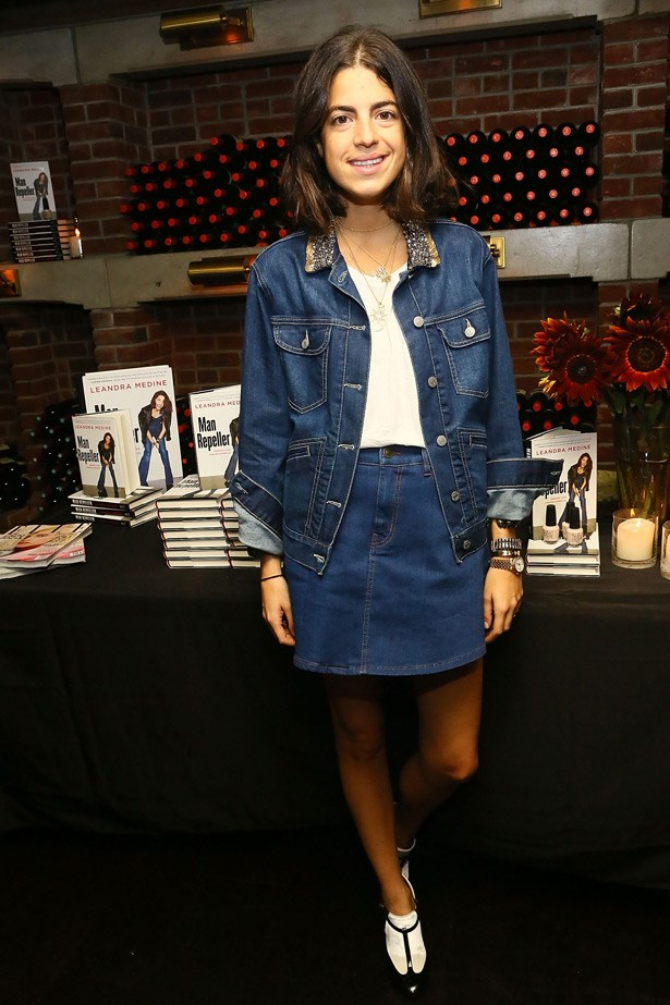 Blogger Leandra Medine of Man Repeller has often talked of her love for double denim. This youthful studded jacket, mini, and socks-with-sandals combo is a hard look to pull off, but for Medine, it's just another day in the office.
