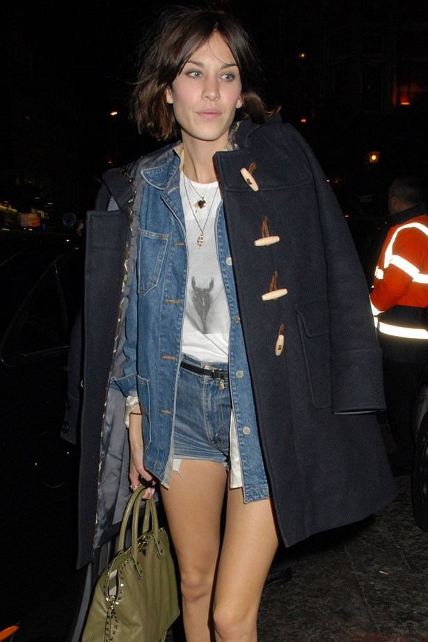 Once of our favourites, Alexa Chung does festival-nonchalance just so by stealing a trucker jacket from the boys to pair with her denim cut-offs.
