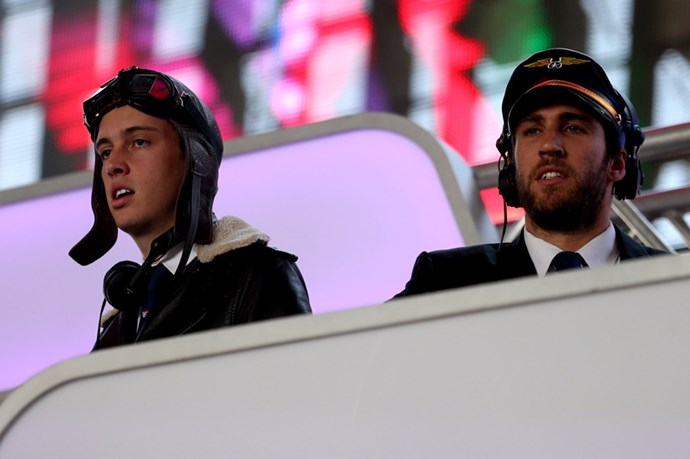"""<strong>Flight Facilities</strong> <br><br> Wheels up: Indie electro DJ duo Hugo Stuart Gruzman and James """"Jimmy"""" Nathan Lyell donned their aviator jackets, goggles and flight hats before take-off on day three – the same look they they adopted last year when touring as part of Triple J's House Party Tour."""
