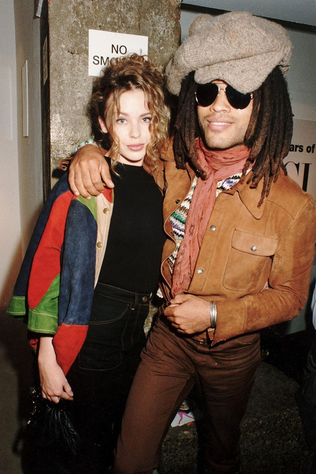 Backstage cool: Kylie and Lenny Kravitz hanging out in 1995.