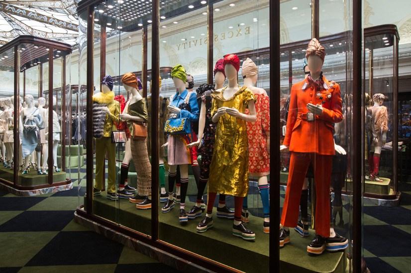 Mannequins dressed in archival Prada pieces.