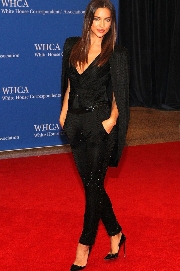 Model Irina Shayk in Atelier Versace.
