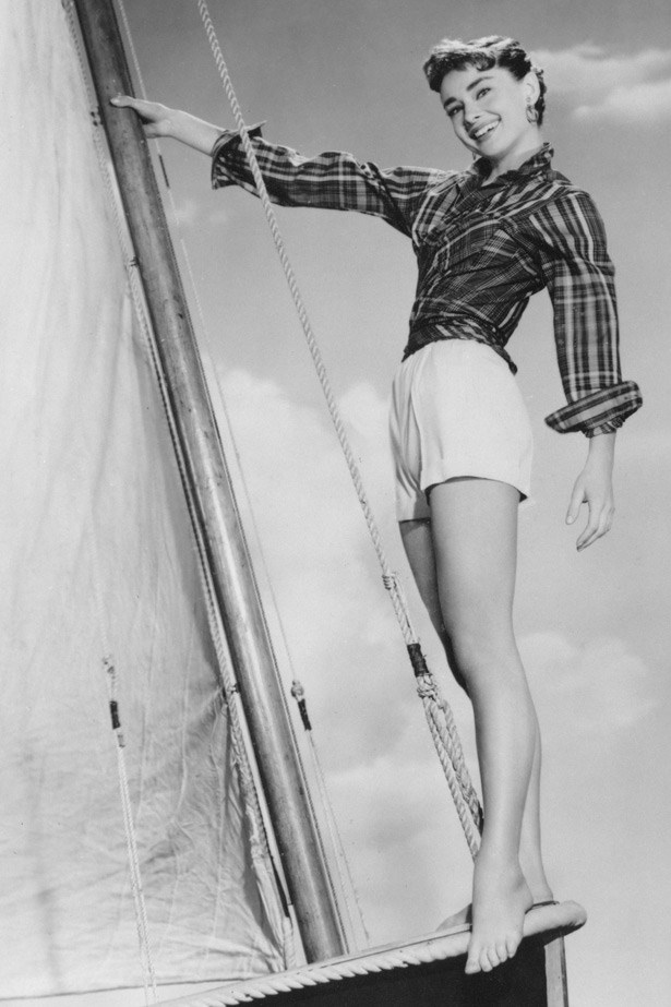 Audrey Hepburn sailing in 1954