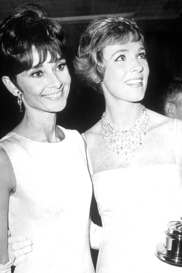 Audrey Hepburn and Julie Andrews at the Oscars in 1965.