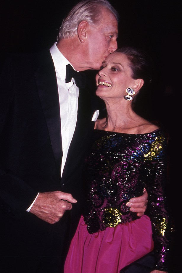 Audrey Hepburn with her longtime friend and collaborator, fashion designer Hubert de Givenchy in 1991.
