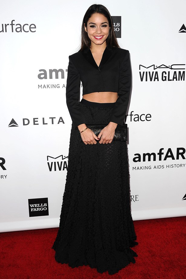 Simplicity wins again. We love Vanessa Hudgens in this goth-meet-business look by Hugo Boss.