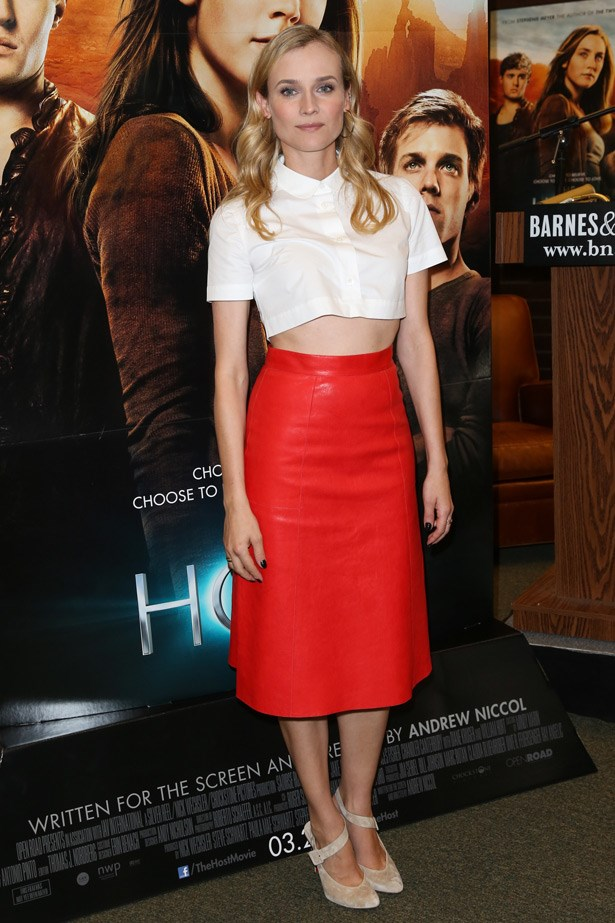 A longtime fan of the crop-top, Diane Kruger is well versed in proportions and balance. Here, her shirt adds a bit of sweetness to the sexiness of the red leather skirt.