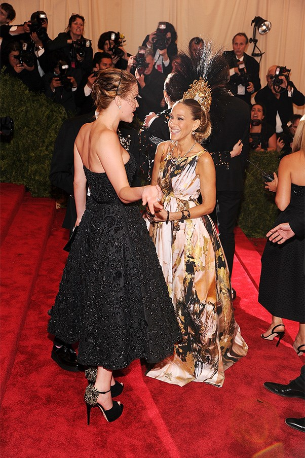 Jennifer Lawrence and Sarah Jessica Parker on the Met Gala red carpet