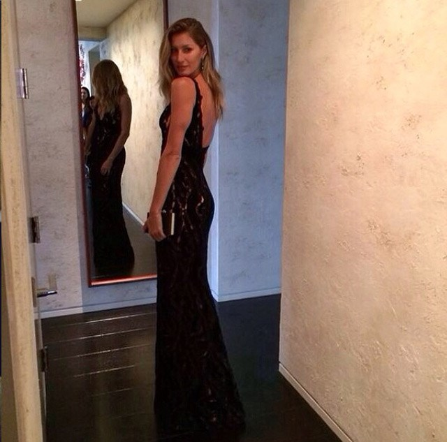 Supermodel Gisele Bundchen ready to leave for the ball.