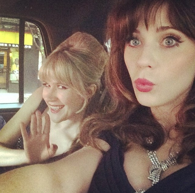 Zooey Deschanel and Tennessee Thomas  on their way to the Gala.