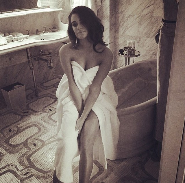 Lea Michelle poses in her bathroom before she gets dressed.