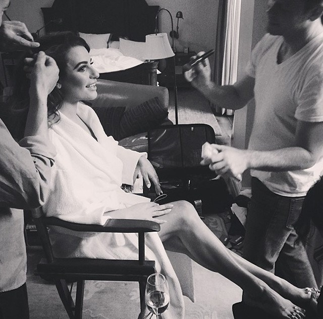 Lea Michelle again getting her hair, makeup and nails done.