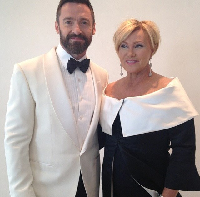 Hugh Jackman posted this adorable shot of himself with wife, Deborra Lee Furness, as they get ready together.