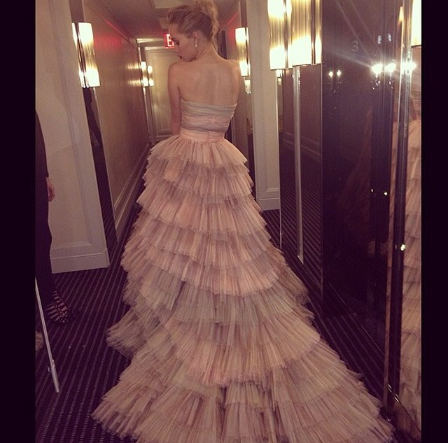 But not before she posted this beautiful shot of the back of her layered  gown.