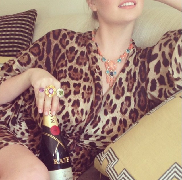 """Kate Upton took some chill-out time to indulge in a glass of sparkling, pre-madness, saying """"Getting ready for the met is so stressful #justkidding"""" Here she's wearing Dolce & Gabbana."""