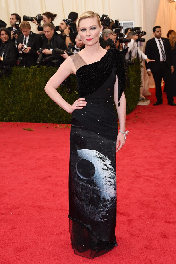 We're not quite sure why Kirsten Dunst wore this <em>Star Wars</em>-themed Rodarte gown... perhaps she was still in May 4th spirit? Very off-theme.