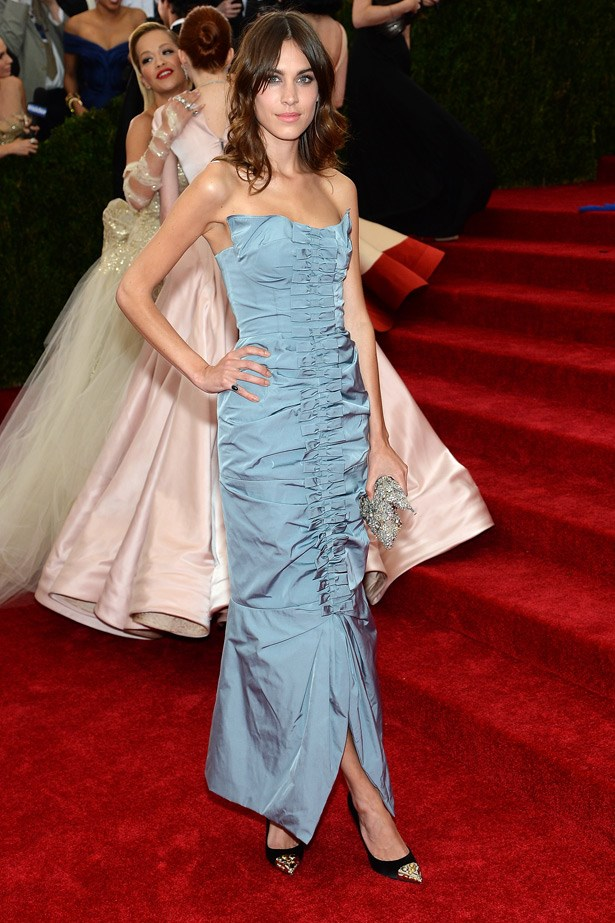 """Looking ever so cool, Alexa Chung wore a sexy but on-theme Nina Ricci ruched dress. <br><br> Related Links: <br><br> <a href=""""http://www.elle.com.au/news/beauty-news/2013/8/make-up-your-eyes-like-an-it-girl/"""">Make up your eyes like an It-girl</a>"""
