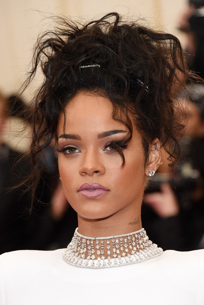 Rhianna wearing a Stella McCartney two-piece dress with a 116ct diamond Jacob & Co. choker and Dionea Orcini Jaipur rings.