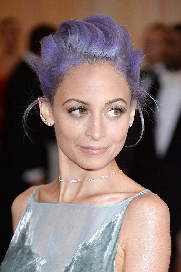 Nicole Richie's electric violet hair gave her traditional up-do a little edge.