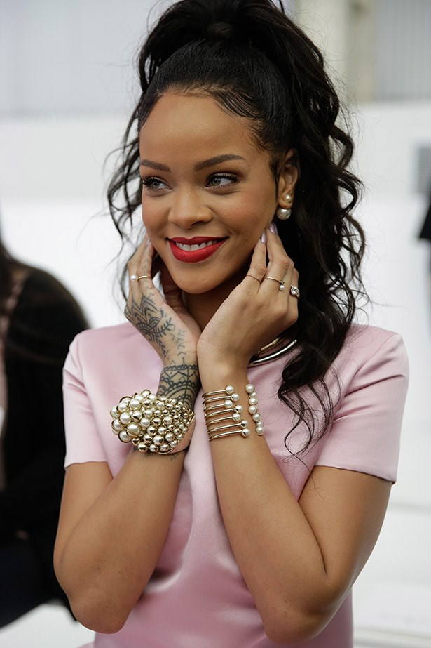 Best in dress:  A close-up of Rihanna in her pearly Dior accessories.