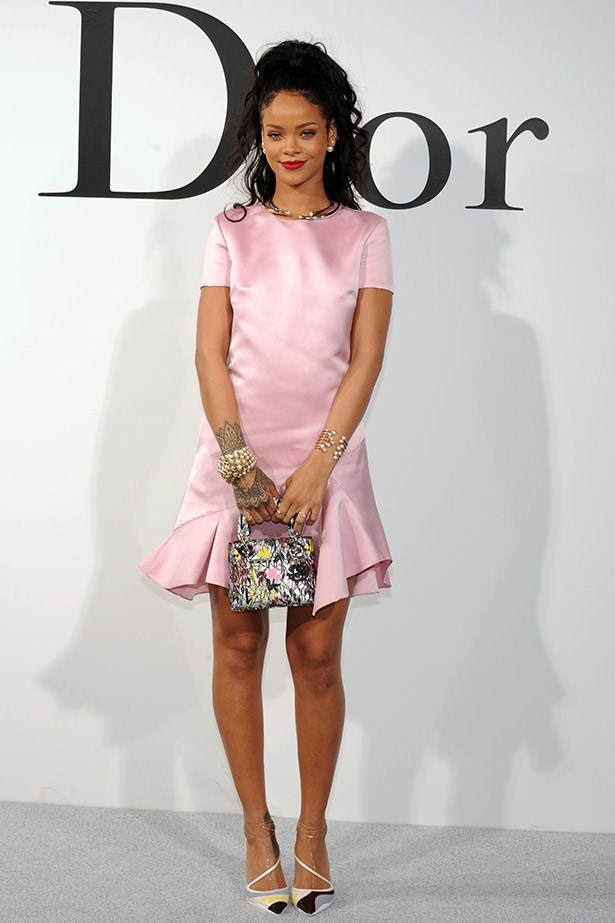 Rihanna's full-length look in pink satin Dior