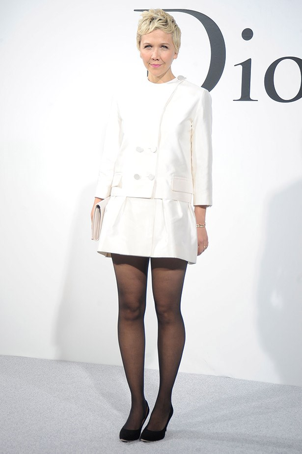 White hot: Maggie Gyllenhaal does top-deck dressing in Dior.