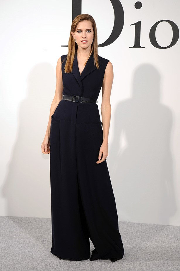 Whereas, <em>Girls</em> star Allison Williams played with volume in this wide-legged Dior silk jumpsuit cinched at the waist.
