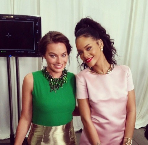 Rihanna and Margot Robbie attend the Christian Dior 2015 Cruise Collection in Brooklyn. <br> Source: Instagram