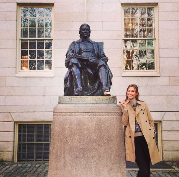 Kloss posted this shot of her standing alongside the John Harvard statue at Harvard.