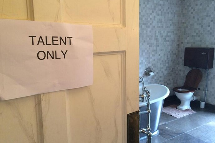 """Loving this! Haven't been called ""the talent"" for some time! Genius! My own toilet at today's shoot!"" she posted."