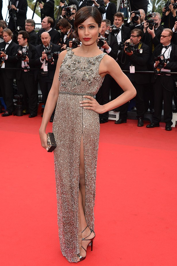Freida Pinto in a beautiful metallic dress in 2013