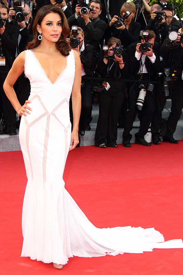 Eva Longoria in a magnificent white gown by Emilio Pucci in 2012