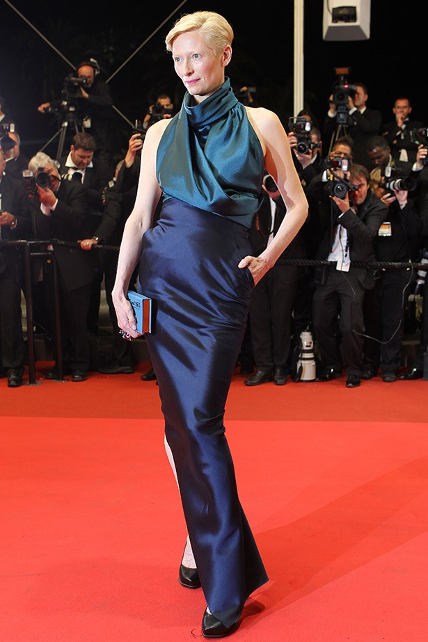 Tilda Swinton in a navy dress by Haider Ackermann in 2011