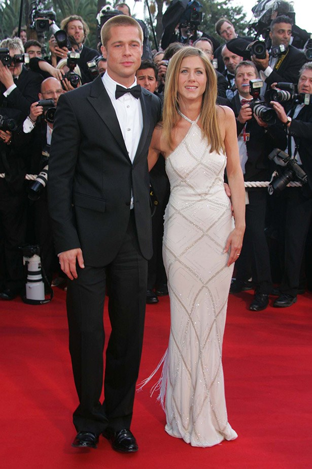 Brad Pitt with Jennifer Aniston wearing Versace in 2004