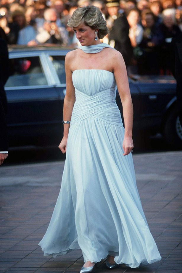 Diana Princess of Wales wearing a timeless dress by Catherine Walker in 1987