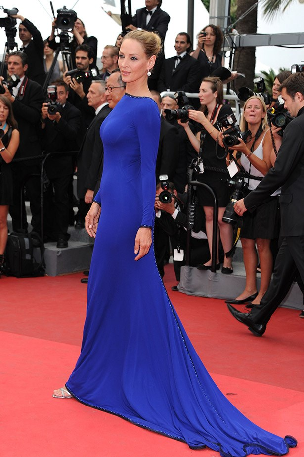 Uma Thurman looking electric in this blue dress in 2011