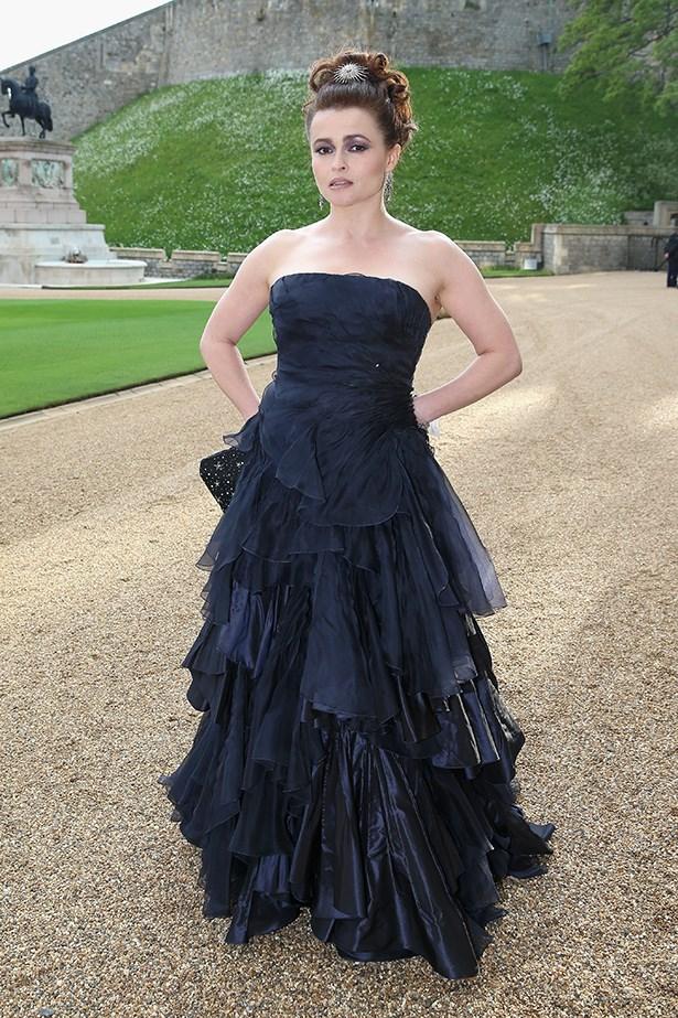 Helena Bonham Carter wearing Ralph Lauren Collection midnight navy silk taffeta & organza evening dress
