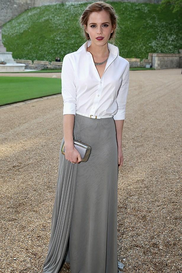 Emma Watson wearing Ralph Lauren Collection silk jersey evening skirt and Ralph Lauren Collection shirt