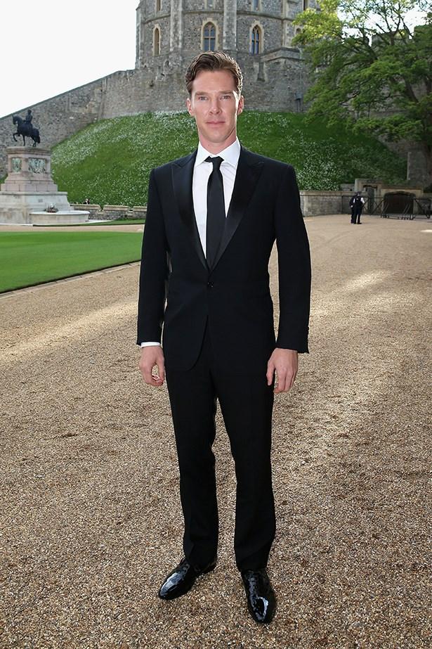 Benedict Cumberbatch wearing Ralph Lauren Black Label peak-lapel tuxedo & dress shirt