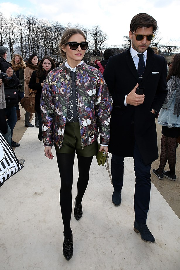 We count three layers hiding under Olivia Palermo's printed bomber jacket. Put oversized styles to good use and hide extreme layering.