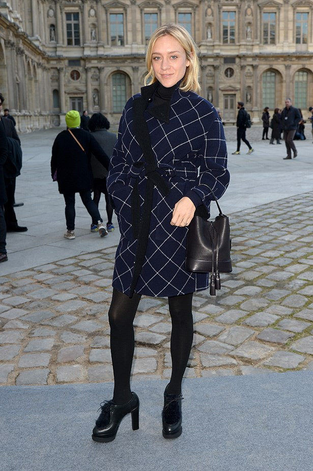 Checks are always a fail-safe print for winter. Take Chloë Sevigny's lead and style yours with stockings and statement shoes.