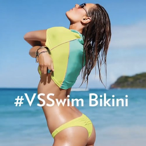 Victoria's Secret's sexy new swimwear line is a little bit cheeky.<br><br> The itsy-bitsy bottom worn here with a cropped rashgard, 22.50; victoriassecret.com.