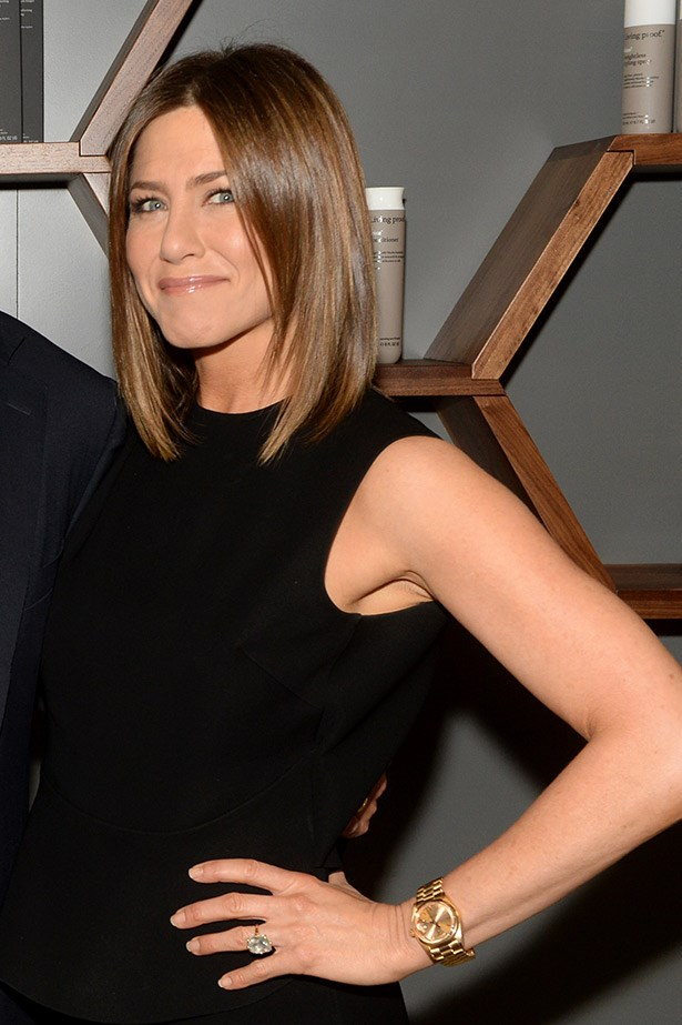 A spokesperson for Living Proof haircare, Jennifer Aniston debuted a freshly chopped, darker bob earlier this month at a launch for the brand.