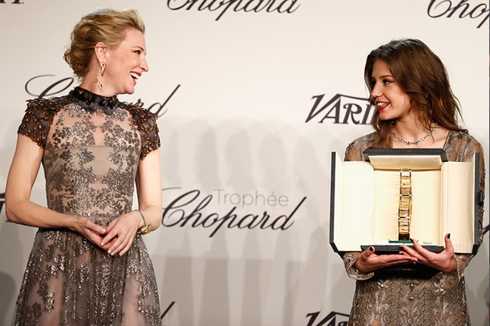Cate Blanchett and Adele Exarchopoulos share a very cute moment at the Chopard Trophy presentation.