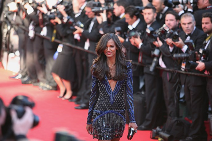 Model Liya Kebede walks the red carpet at the <em>Mr Turner </em>premiere wearing Roberto Cavalli.