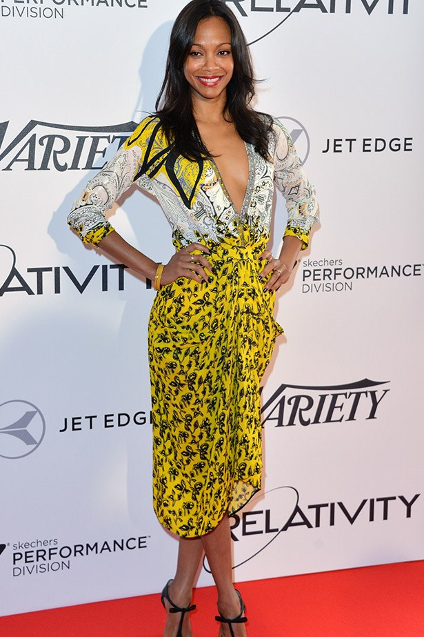 Attending a laid back luncheon at Cannes, Zoe Saldana opted for this yellow dress by Etro.