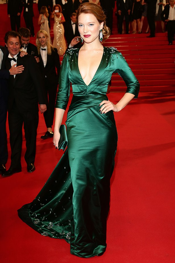 <em>Saint Laurent</em> star and last season's face of Miu Miu, Lea Seydoux worked her new redhead status in this emerald Prada gown.