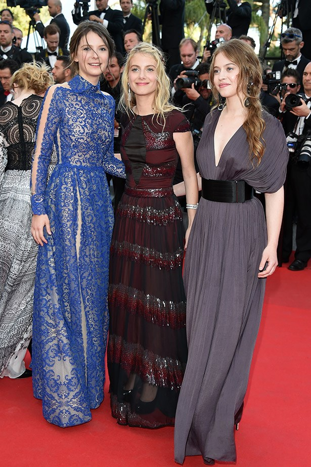 Don't say we didn't warn you about the Cannes lace trend. French actresses Josephine Jappy, Melanie Laurent and Lou De Laage attend <em>The Homesman</em> Premiere.