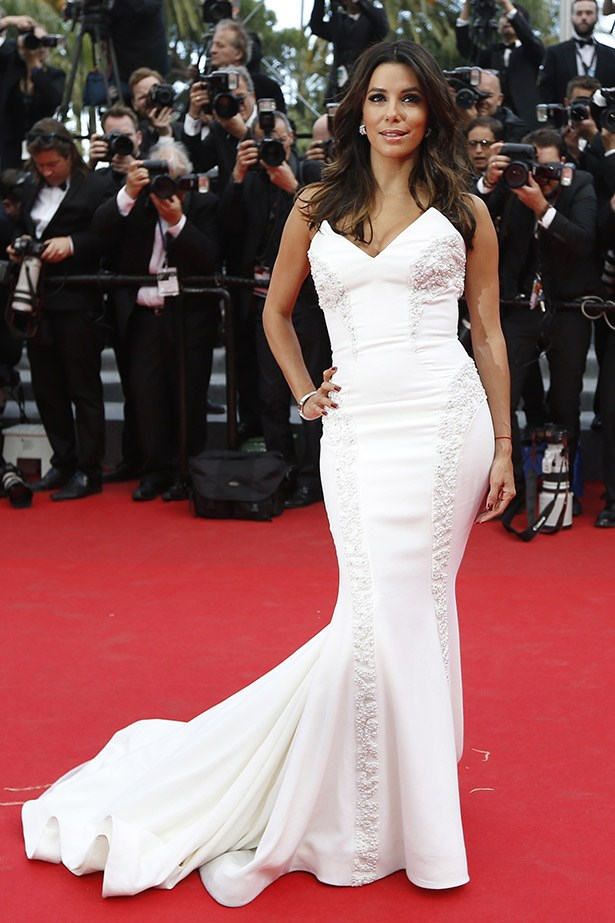 Making her first appearance at Cannes this year, Eva Longoria rocked the  <em>Saint Laurent</em> premiere in this Gabriela Cadena gown.