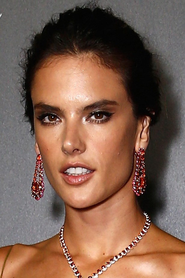 Alessandra Ambrosio shines with an edgy updo and expertly contoured cheekbones at the Chopard afterparty.